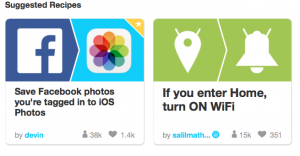 screenshot of IFTTT recipes